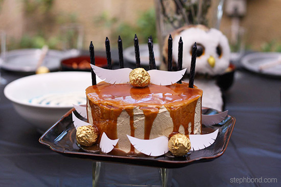 Harry Potter Birthday Cake butter beer with snitches