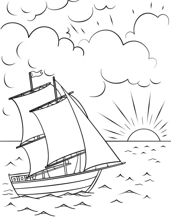 Tranh tô màu phong cảnh thuyền buồm