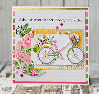 adventures ahead card @akonitt #eyeletoutlet #by_marina_gridasova #card #butterfliesbrads #enameldots #washitape