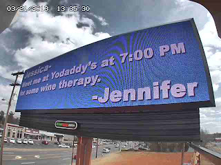 Battleground Avenue, Greensboro, North Carolina, billboard, Jennifer, Jessica, Michael, cheating, cheater, infidelity, wine, Yodaddy's, Yo Daddy's