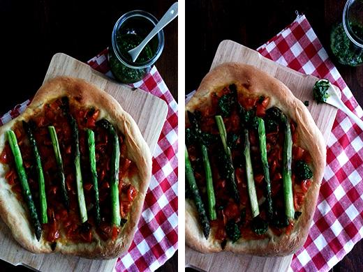 Pizza vegan GRüner Spargel Bärlauchpesto Foodblog Blog Holunderweg18
