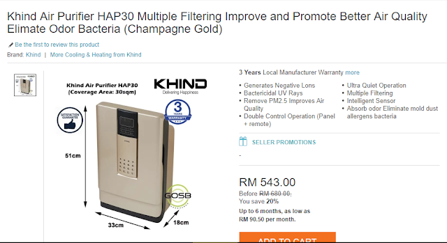 beli khind air purifier