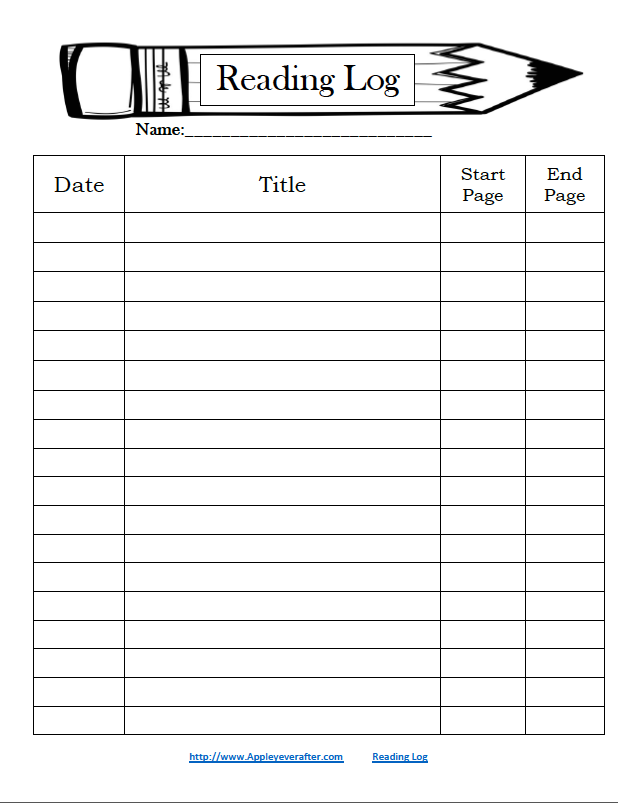 Reading log freebie apple y ever after for Reading log for high school students template