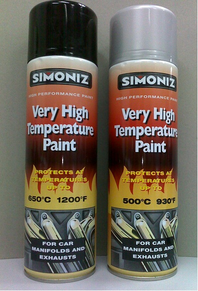Simoniz Very High Temperature Paint Black 650 Deg C And Silver 500