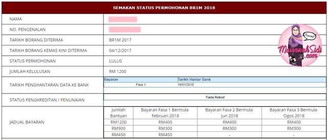 Status Permohonan BR1M Dah Lulus!
