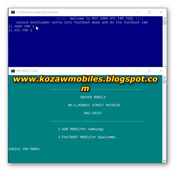 HTC, SONY QUALCOMM One Click Frp Unlock Tool - KoZaw Mobile