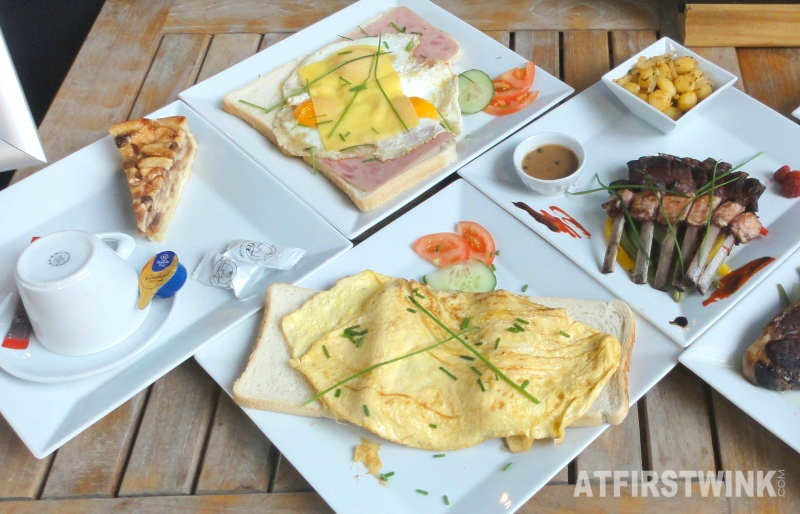 omelet, eggs, apple pie, coffee, lamb chops