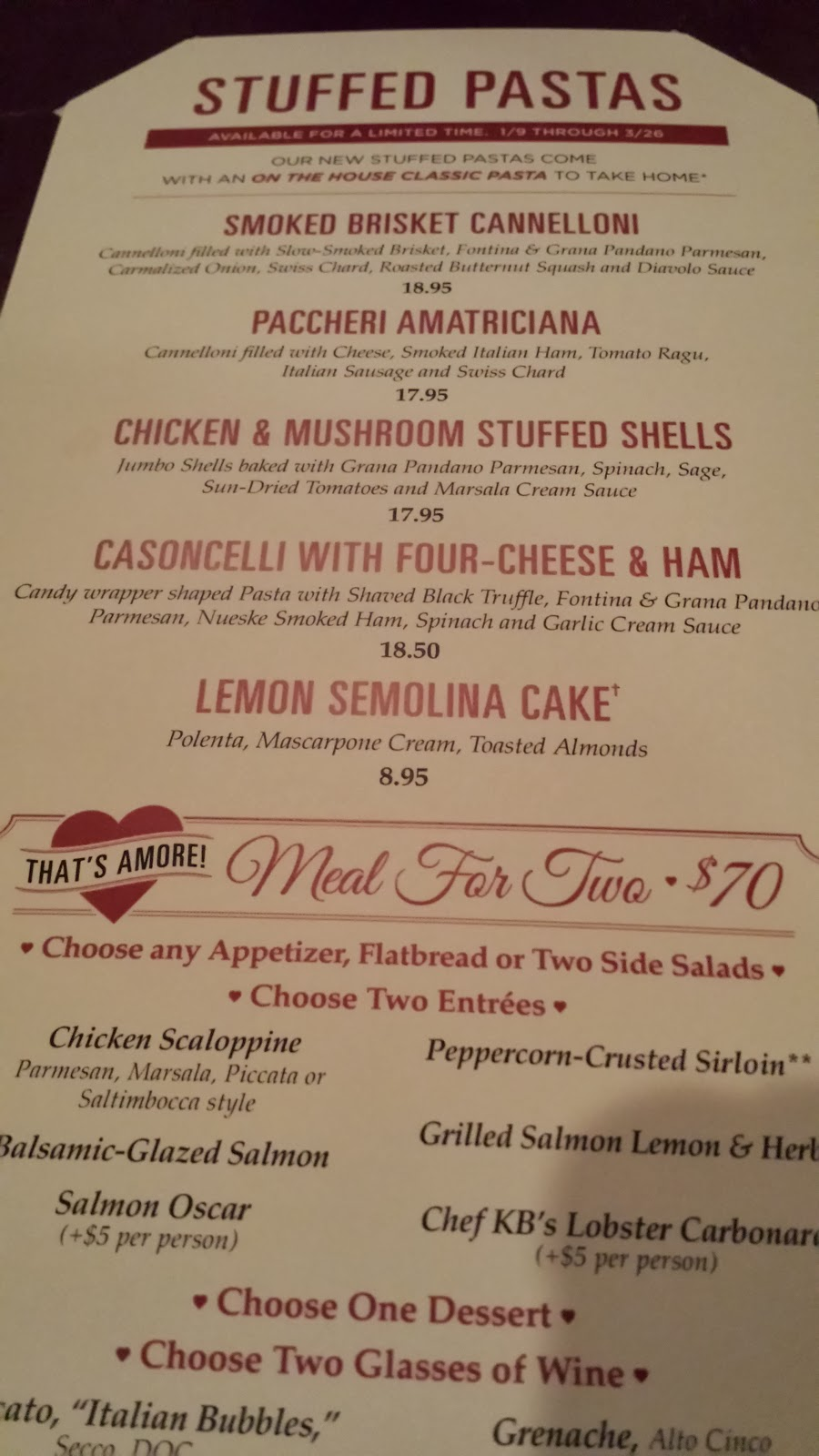 Maggiano's Little Italy Menu Valentine's Day Menu