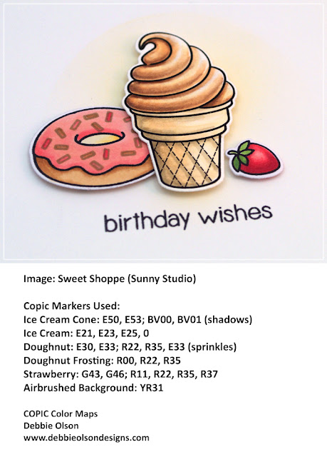 Sunny Studio Stamps: Sweet Shoppe Birthday Card by Debbie Olson.