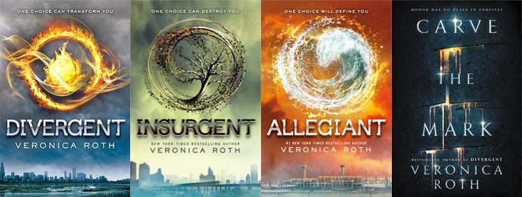 covers of Divergent, Insurgent, Allegiant, and Carve the Mark