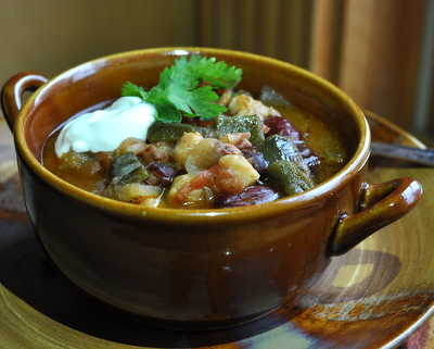 Quick Green Chile Stew, another easy vegan soup ♥ AVeggieVenture.com