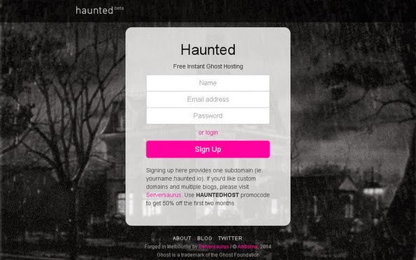 Haunted Ghost blog hosting service