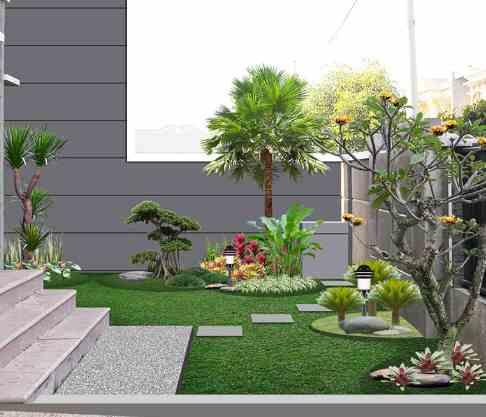 Taman minimalis dengan rumput modern