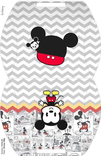 Mickey Vintage Bebé: Cajas para Imprimir Gratis.