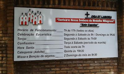 Horários das celebrações no Santuário das Sete Capelas