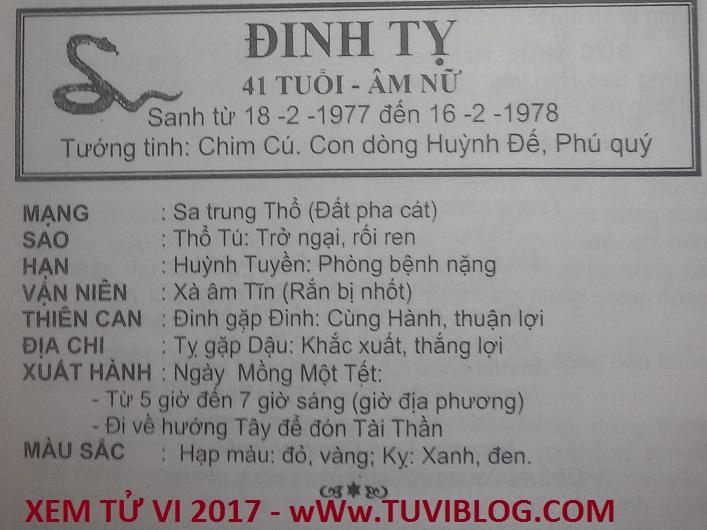 Tu vi 2017 Dinh Ty 1977 nu mang