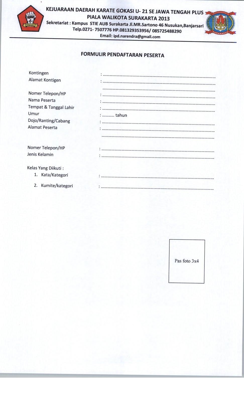Karate Formulir Pendaftaran Peserta Kejuaraan