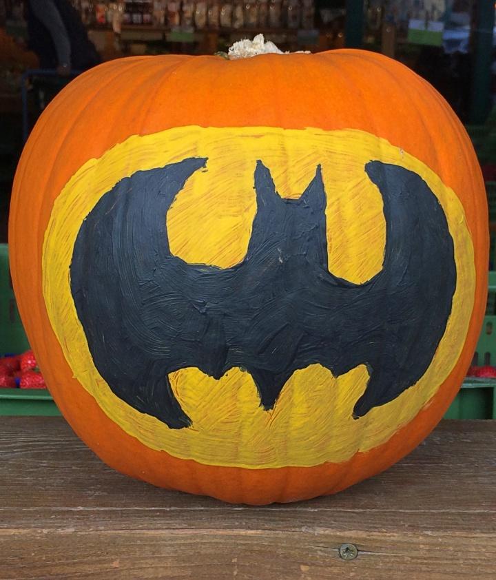 Batman painted on a pumpkin, a fun way to embrace autumn