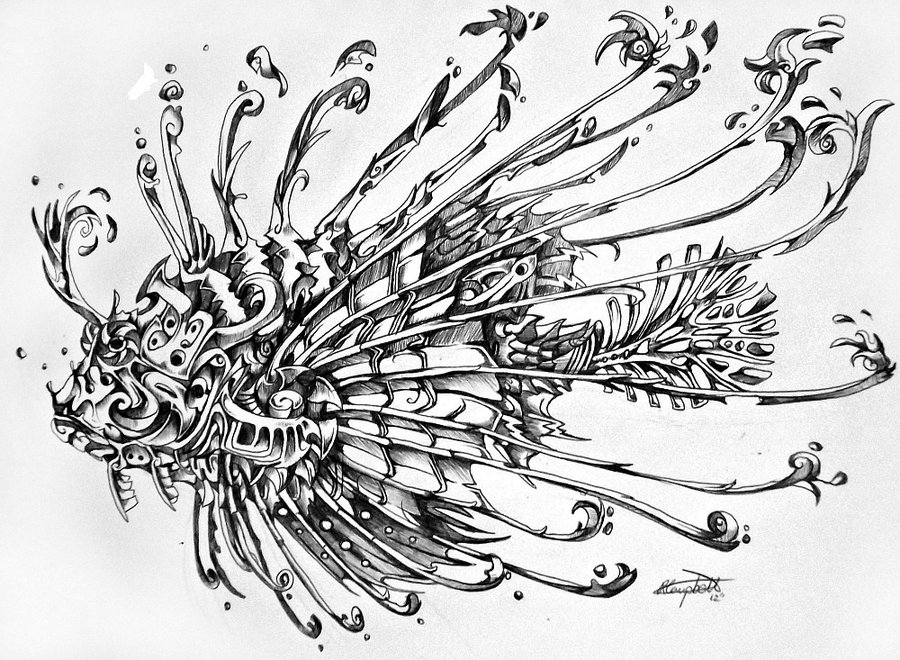 11-Lion-Fish-René-Campbell-Art-in-Animal-Doodle-Drawings-www-designstack-co