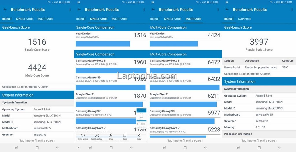Benchmark Geekbench 4 Samsung Galaxy A7 2018