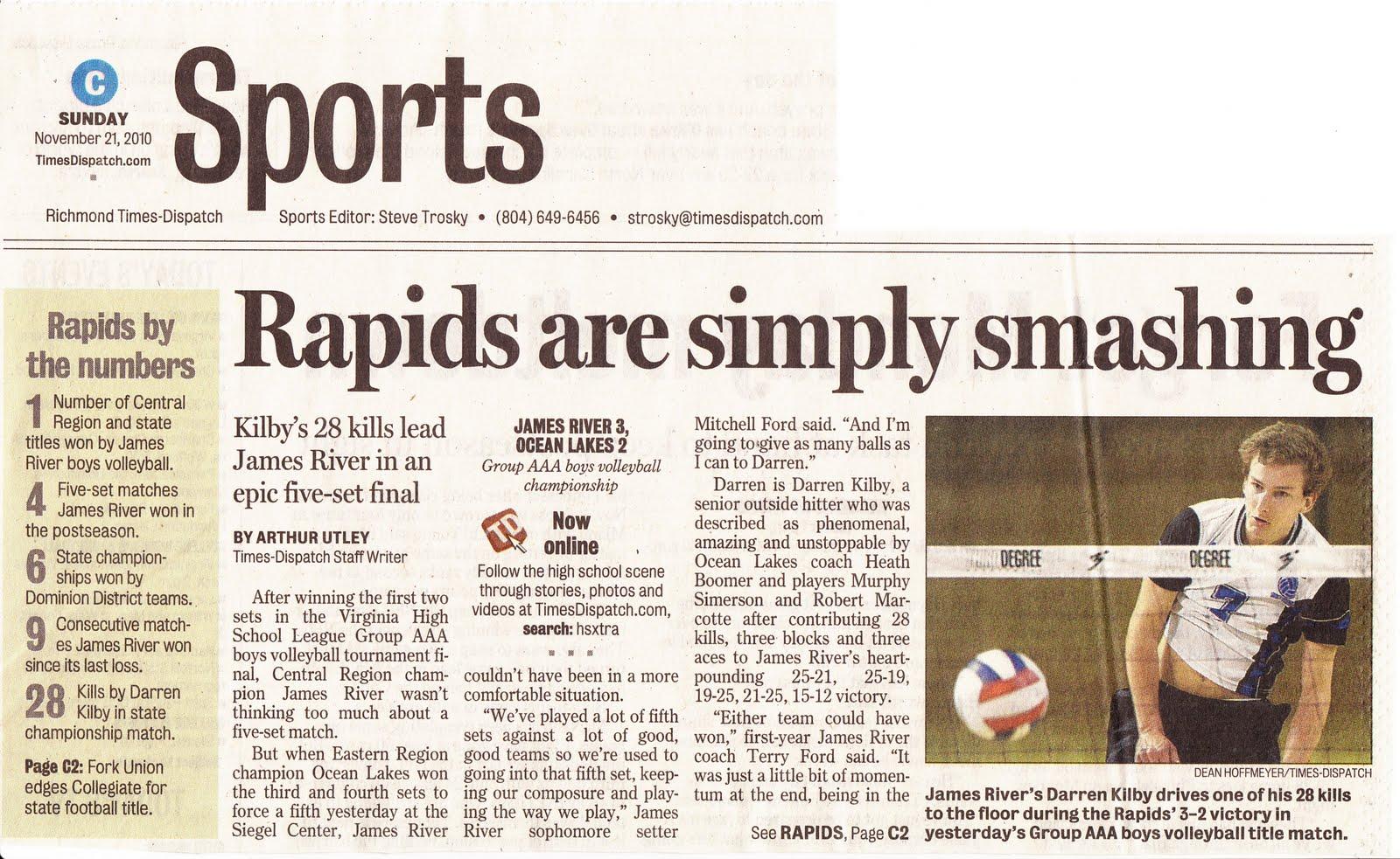 2010 James River Boys Volleyball News: 2010-11-21 Rapids ...