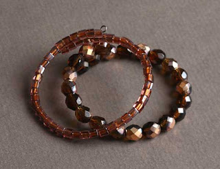 Copper Luster Beaded Cuff Bracelet Set