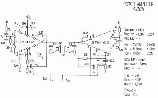stk465 stereo power amplifier 2x30w