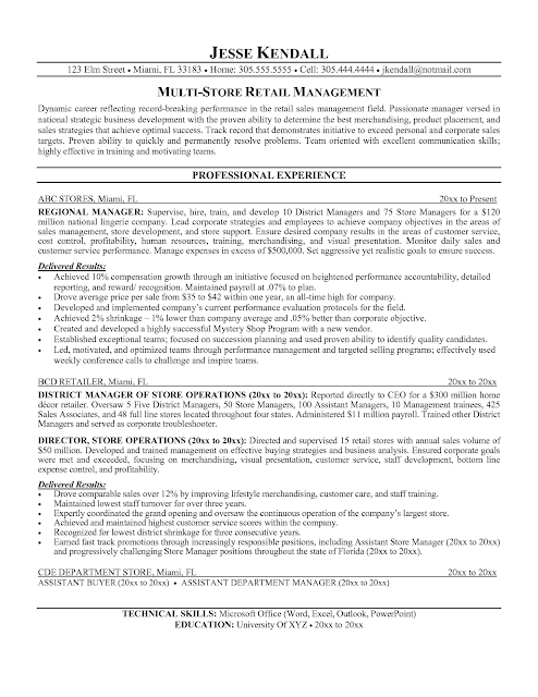 resume examples for retail management assistant