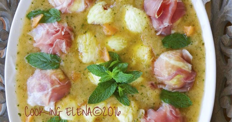 Fichi in mantello su crema di melone giallo e cantalupo