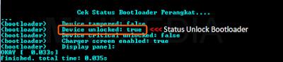 Cek status Unlock Bootloader