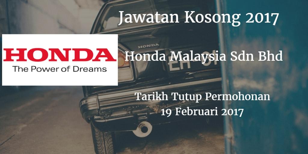 Jawatan Kosong Honda Malaysia Sdn Bhd 19 Februari 2017