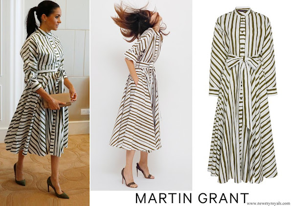 Meghan Markle wore MARTIN GRANT Striped Shirt Dress from Spring Summer 2019 Collection