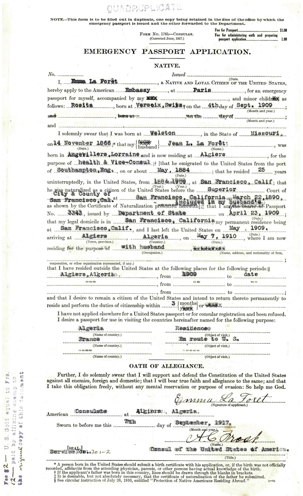 Ancestral discoveries february 2016 this weeks document in the life of emma schafer is a copy of her emergency passport application from 1917 this is an original marked quadruplicate aiddatafo Gallery