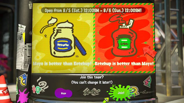 Splatoon 2 Team Mayo Mayonnaise Ketchup decision board join better than Splatfest