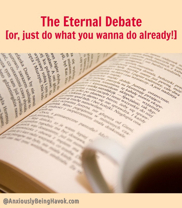 "The Eternal Debate [or, just do what you wanna do already!] | When the question of ""what to do"" gets to be too much 