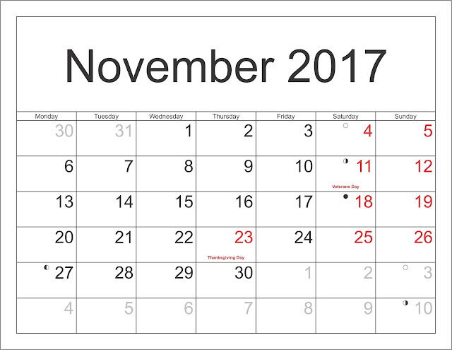 November 2017 Calendar, November calendar 2017, November 2017 Printable calendar, November 2017 Calendar Printable, November 2017 Blank Calendar, November 2017 calendar with Holidays