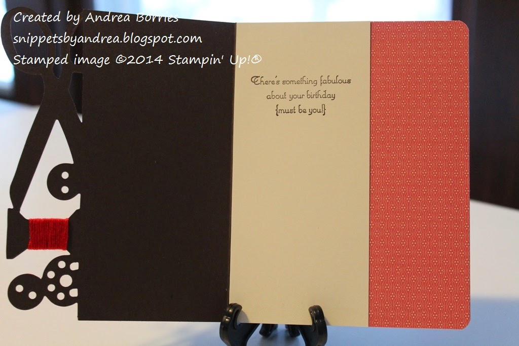 Photo of the inside of the second card with red patterned paper on the right side and vanilla card stock stamped with a sentiment on the left side.