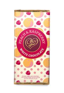 chocolate melocotón y frambuesa