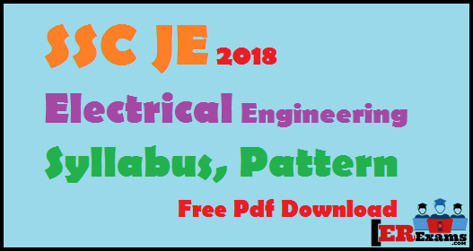 Ssc Je 2018 Electrical Engineering Syllabus Pattern