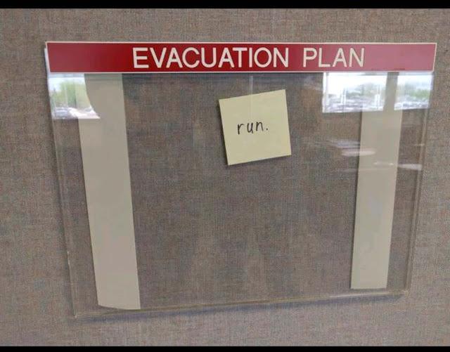 Funny Evacuation Plan Sign - Run
