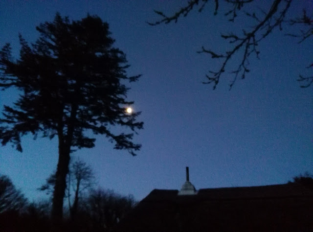 blue sky, moon, night image, roof