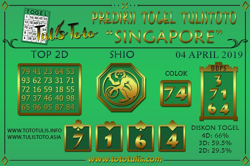 Prediksi Togel SINGAPORE TULISTOTO 04 APRIL 2019