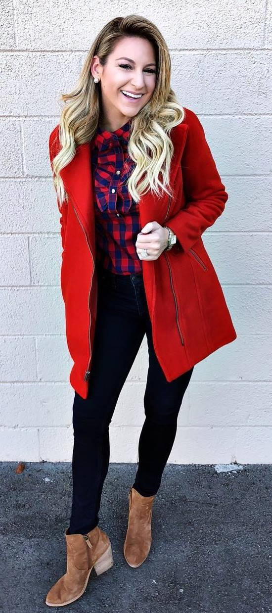 what to wear with a red coat : plaid shirt + skinnies + boots