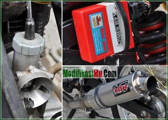 Karburator PE 28 dan Knalpot WRX GP Series - Video Cara Modifikasi Suzuki Satria F150 Stroke Up 200 cc Tampilan Simpel Sederhana Tapi Keren