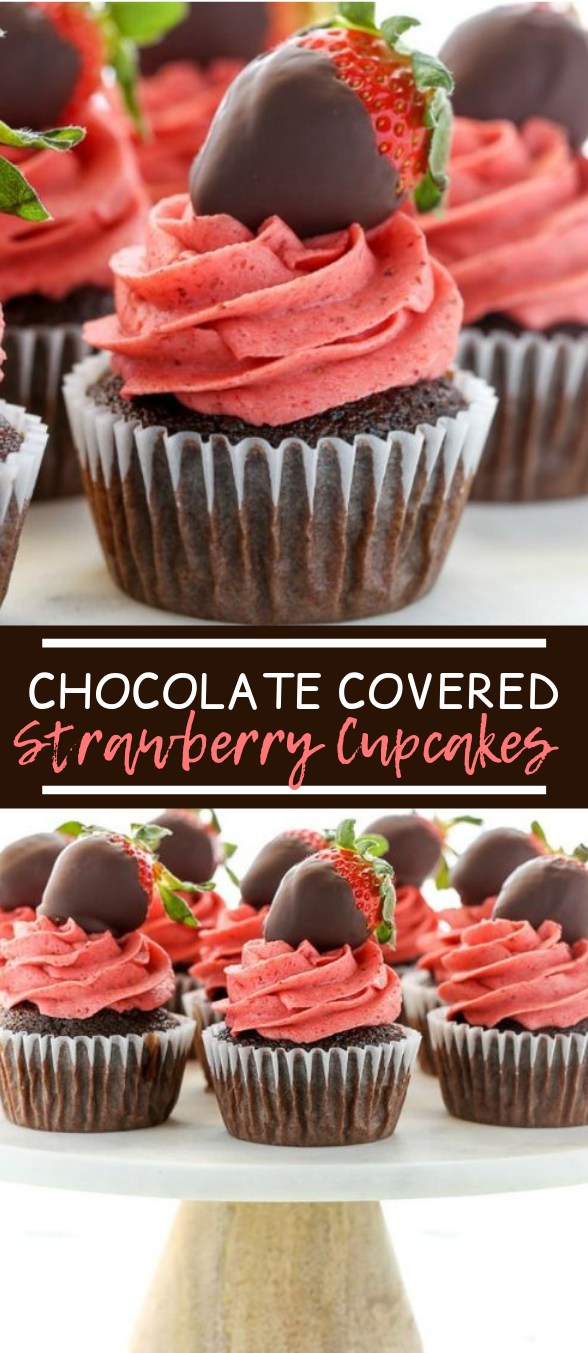 Chocolate Covered Strawberry Cupcakes #chocolate #cake