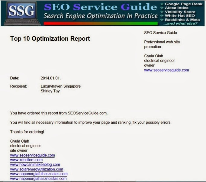 seo service guide luxury haven report