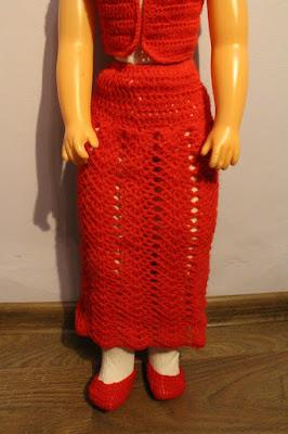 spódnica na szydełku dla dużej lalki, wzór wachlarzyki