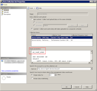 SQL Server Data Collector Collection Set Properties