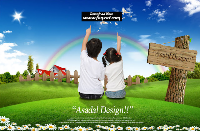 The design of a boy and girl pointing to the sky