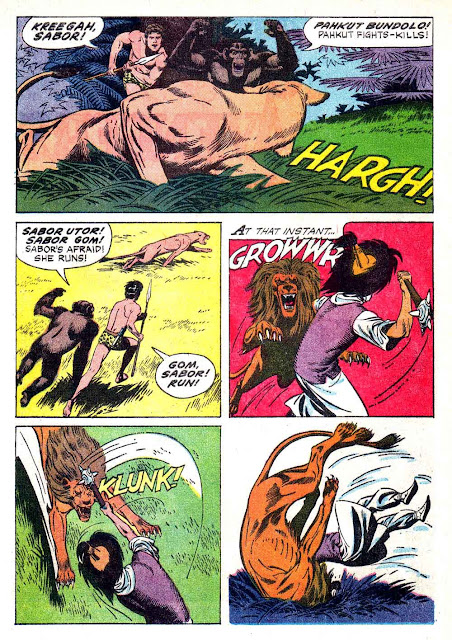 Korak Son of Tarzan v1 #7 gold key silver age 1960s comic book page art by Russ Manning